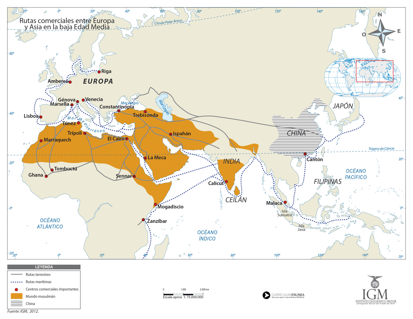 Mapa de las rutas comerciales entre Europa y Asia en la Baja Edad