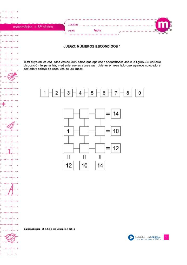 Juego Numeros Escondidos 1 Curriculum Nacional Mineduc Chile