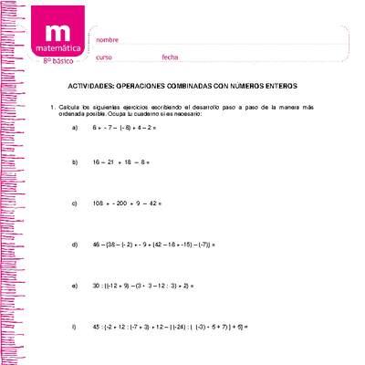 Operaciones Combinadas Con Números Enteros Curriculum Nacional Mineduc Chile