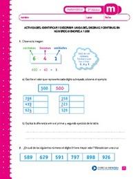 Identificar y describir unidades, decenas y centenas en números ...