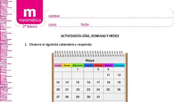 Calendario De Embarazo Semanas Y Meses.Dias Semanas Y Meses Curriculum Nacional Mineduc Chile