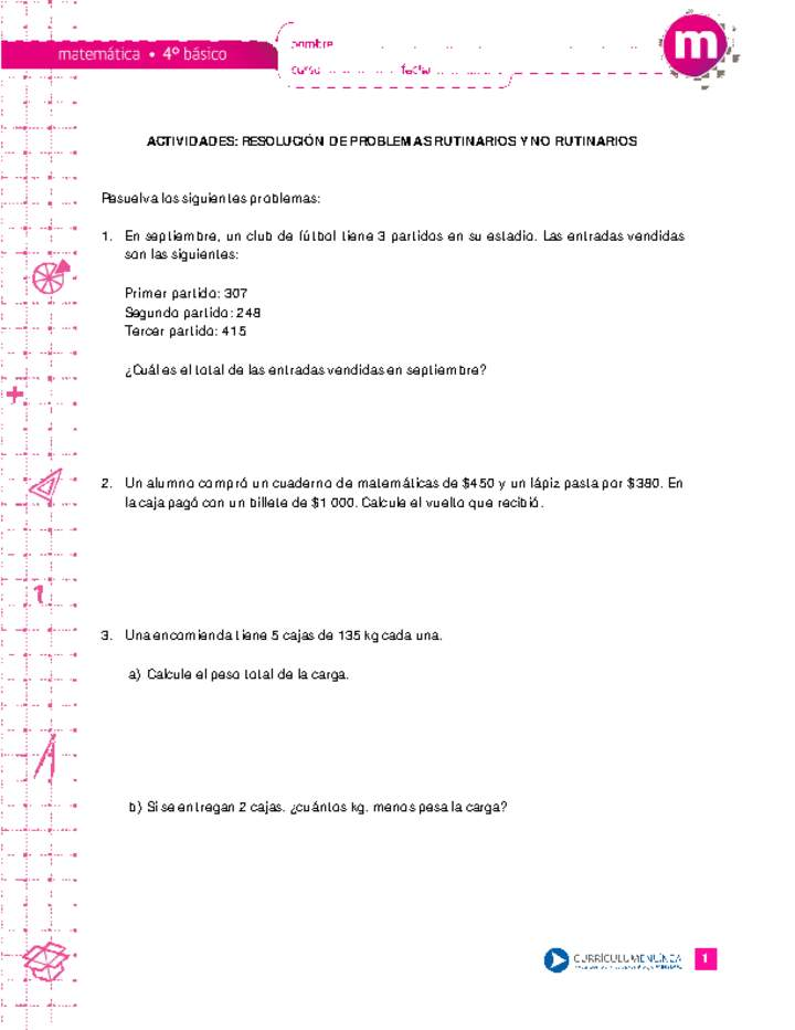 Resolución de problemas rutinarios y no rutinarios - Curriculum ...