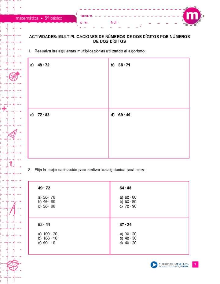Multiplicaciones De Números De Dos Dígitos Por Números De