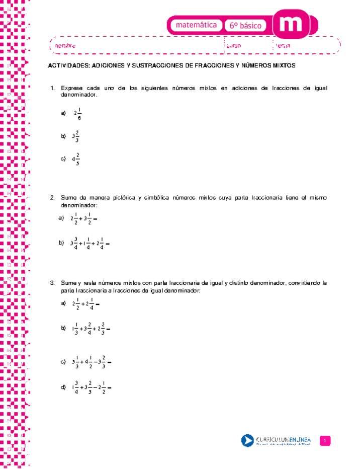 Adiciones y sustracciones de fracciones y números mixtos ...