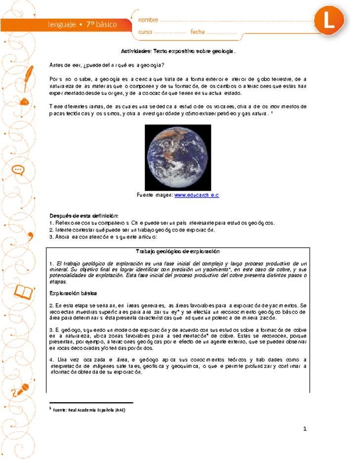 Texto Expositivo Sobre Geología Curriculum Nacional