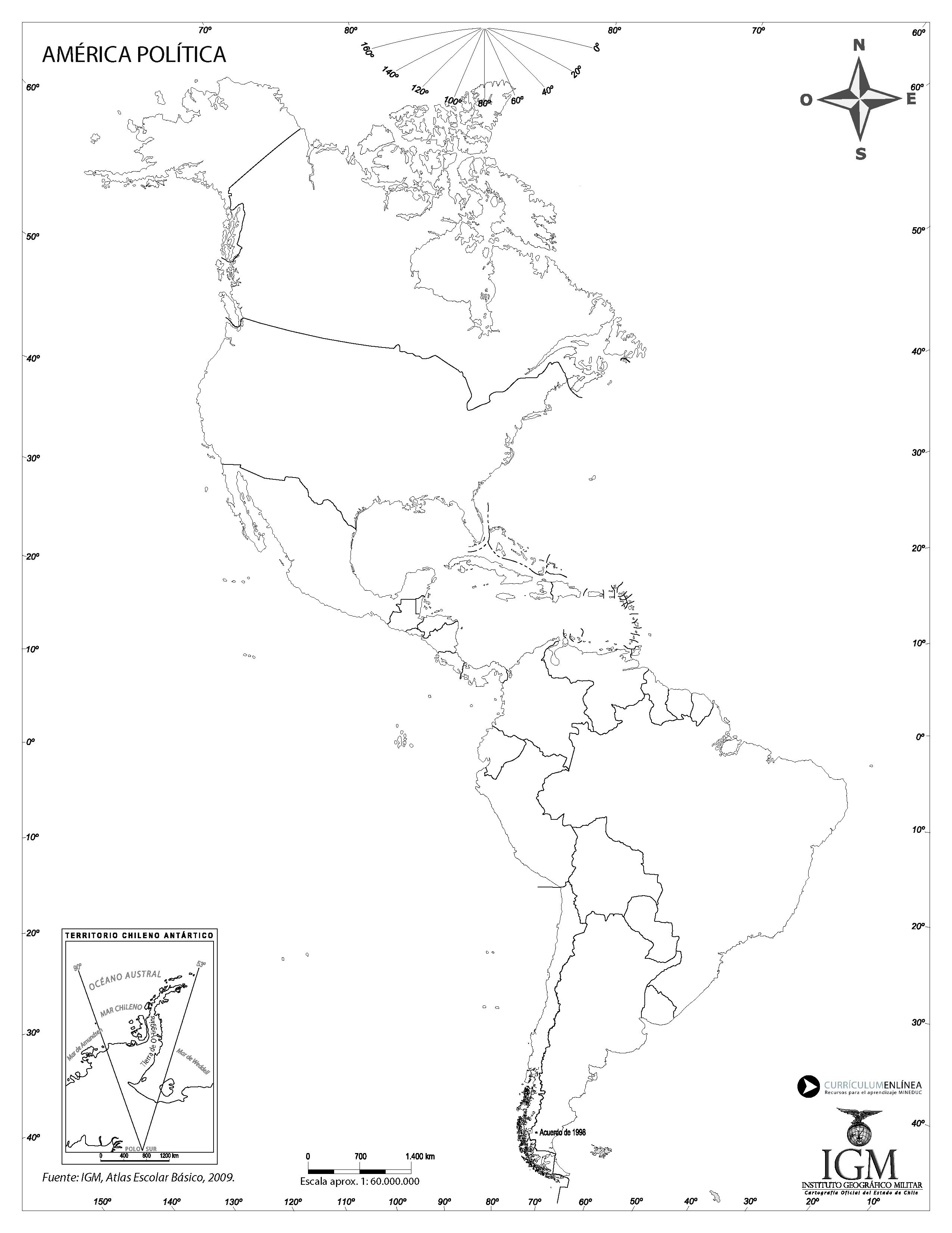 Mapa America Politico Mudo.Mapa Politico De America Curriculum Nacional Mineduc Chile