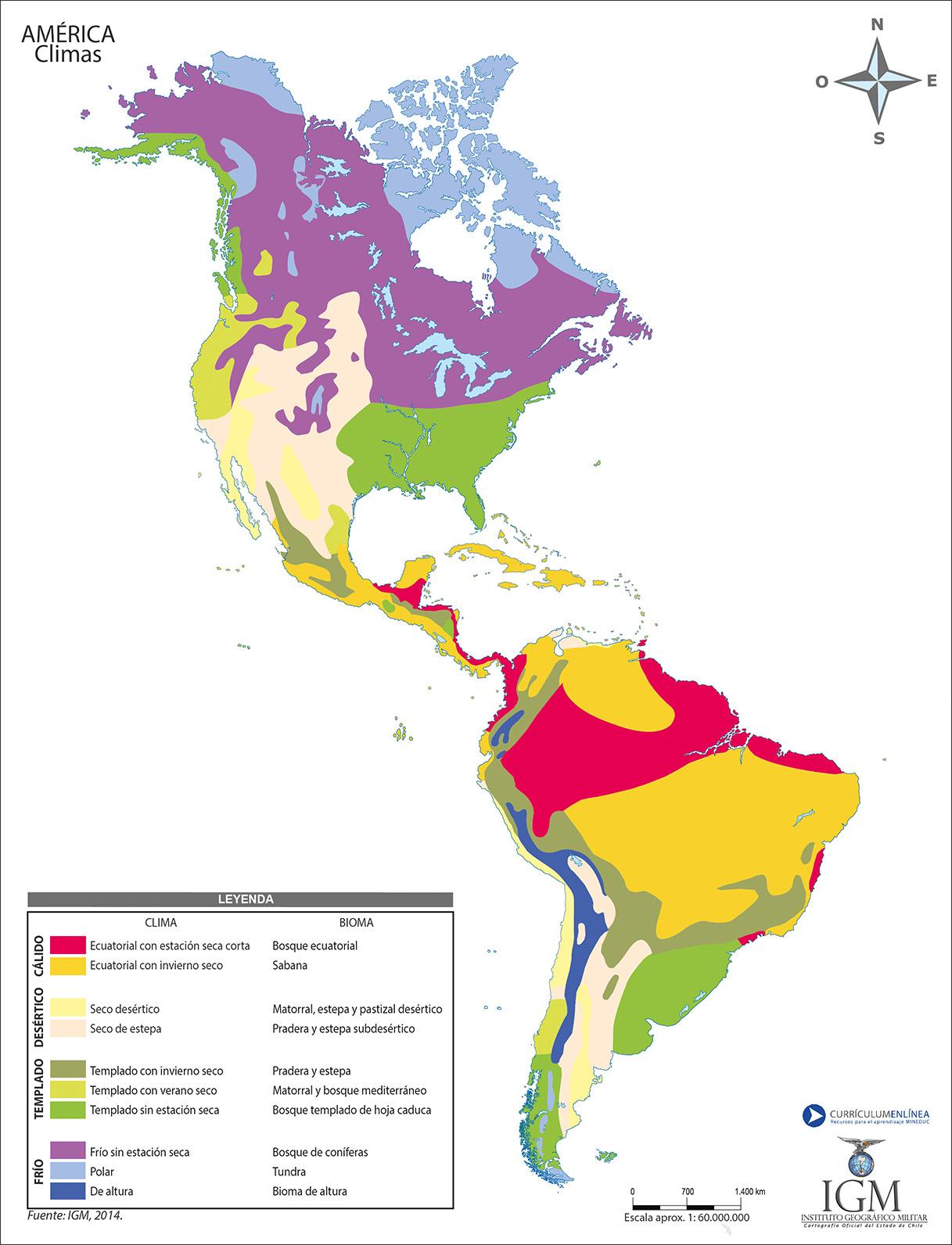 Mapa con los climas de Amrica a color  Currculum en lnea