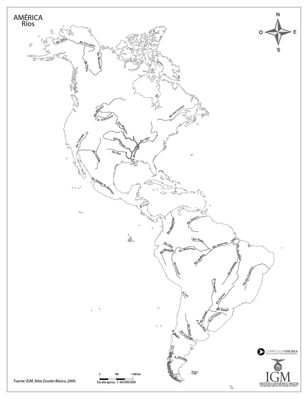 Mapa de Amrica con los principales ros  Currculum en lnea