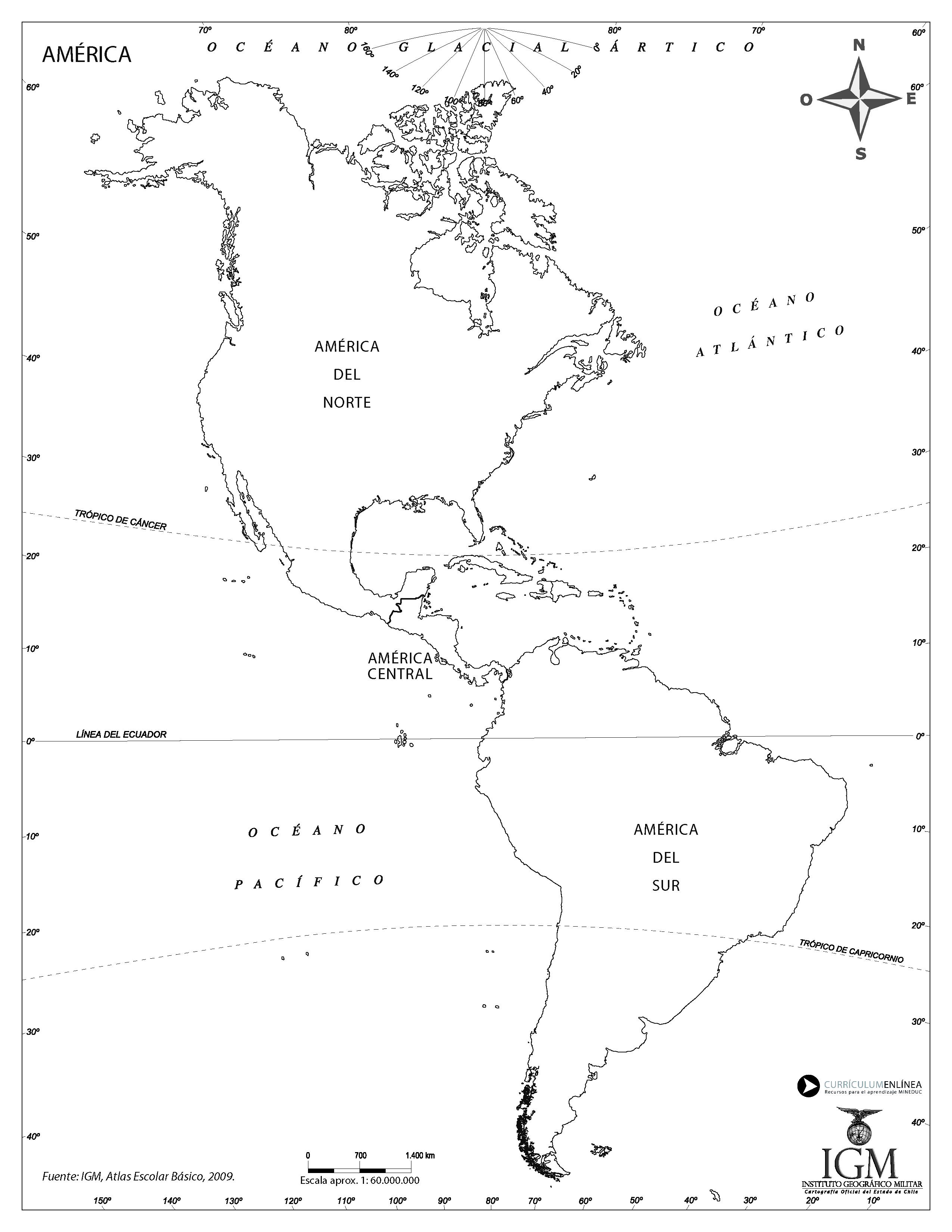 Mapa de América con su divisón regional - Currículum en línea ...