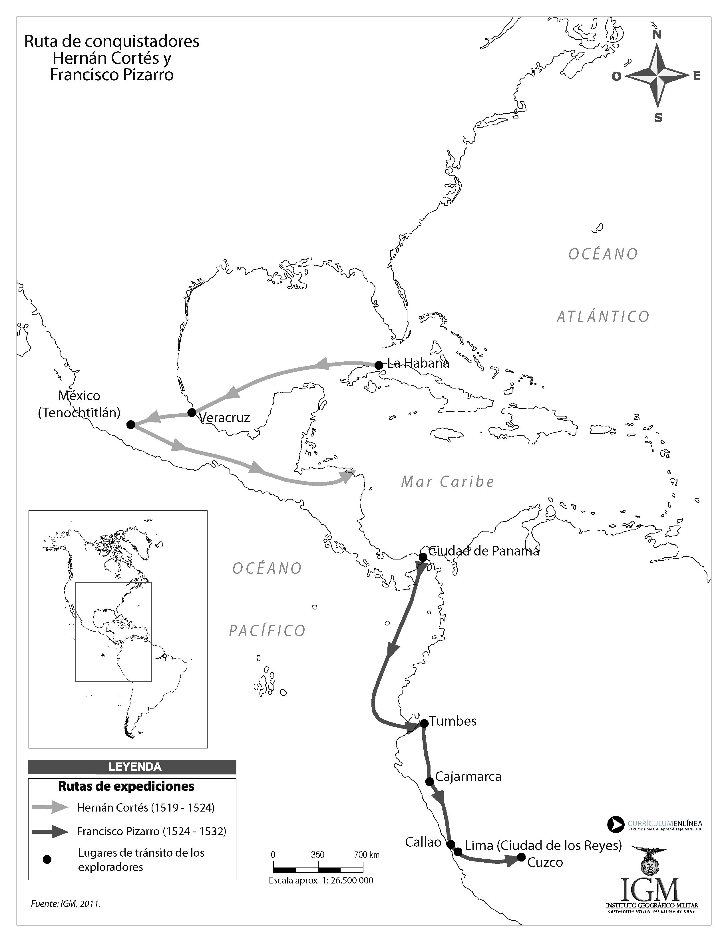 Ruta De Conquistadores Hernán Cortés Y Francisco Pizarro