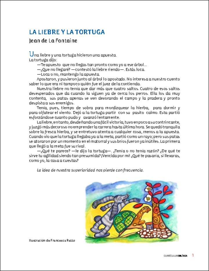 La Liebre Y La Tortuga Curriculum Nacional Mineduc Chile