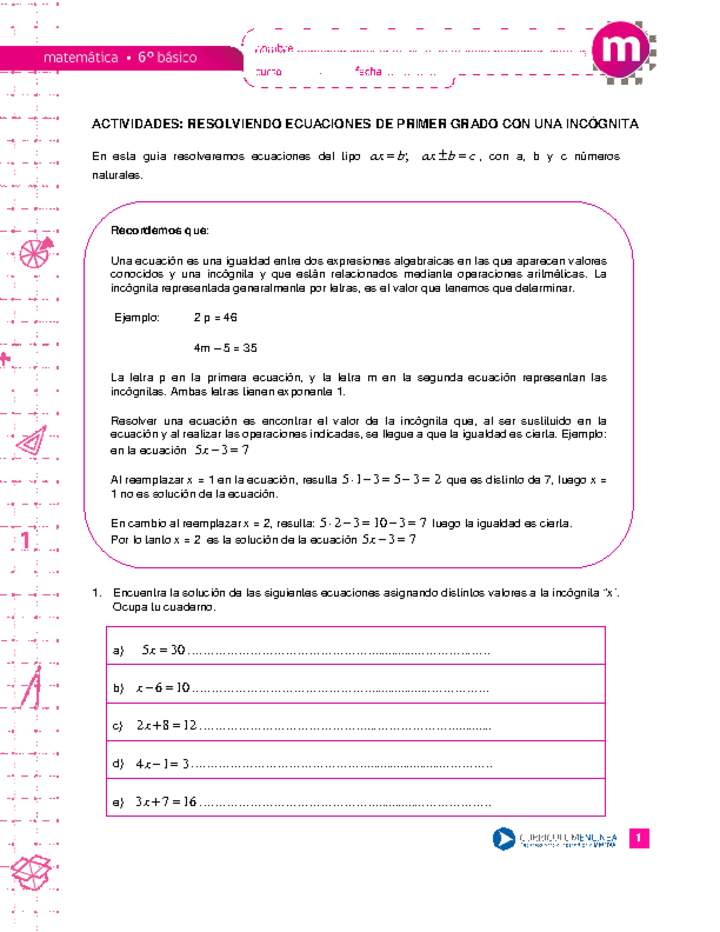 Resolviendo ecuaciones de primer grado con una incógnita ...