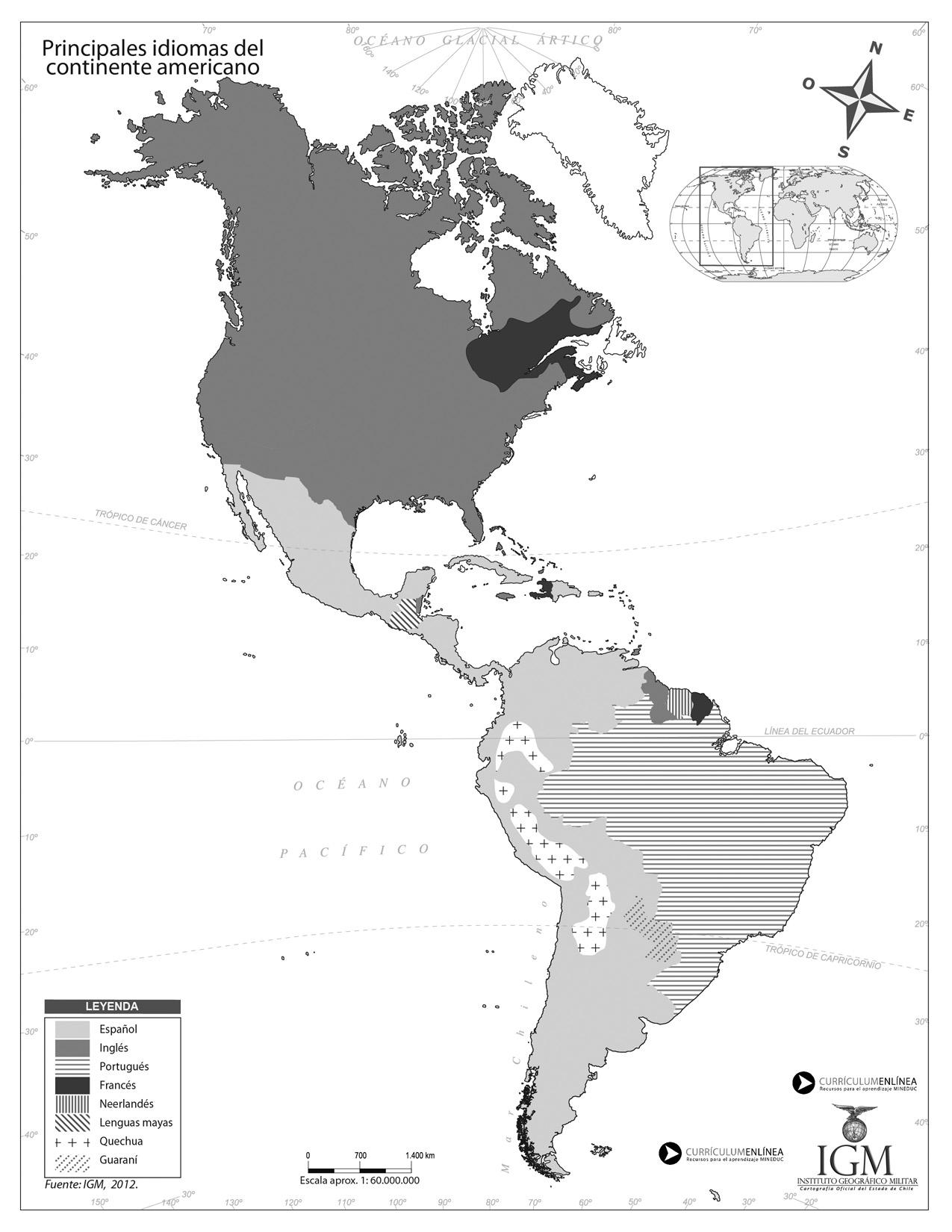 Idiomas en América - Currículum en línea. MINEDUC. Gobierno de Chile.