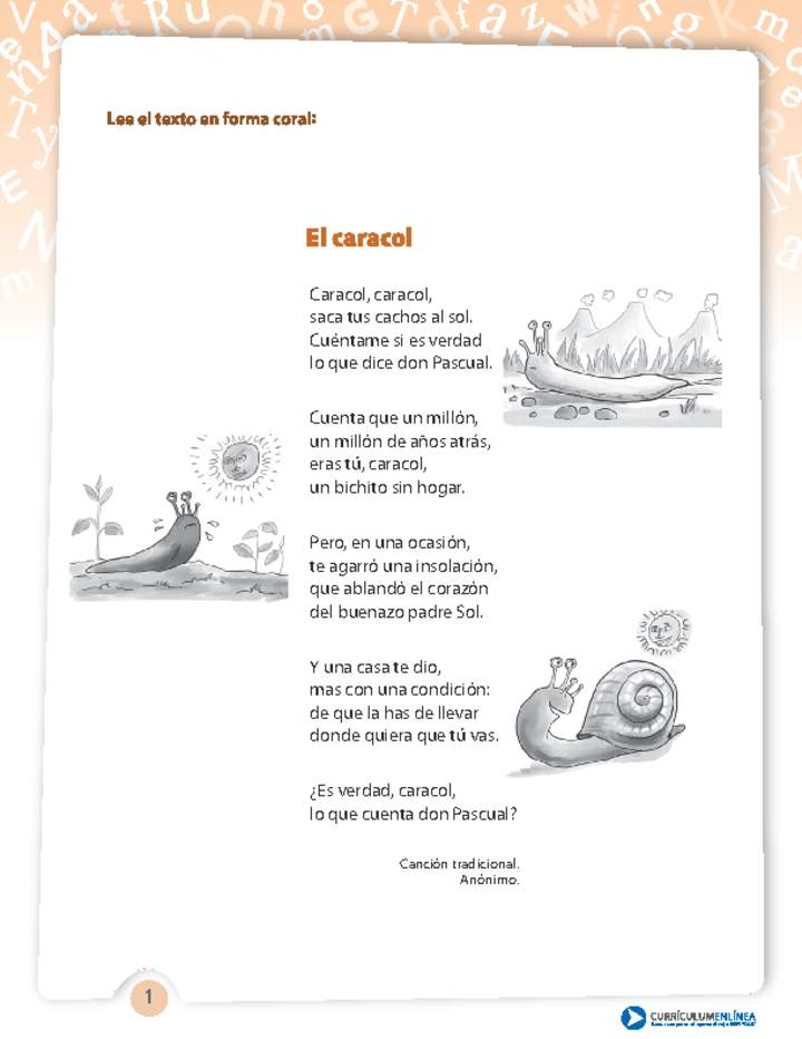 Poema El Caracol Curriculum Nacional Mineduc Chile