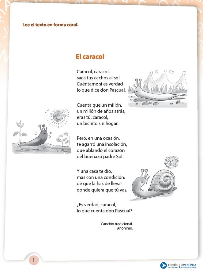 poema el caracol recomendado para unidad 3 poema el caracol poema el