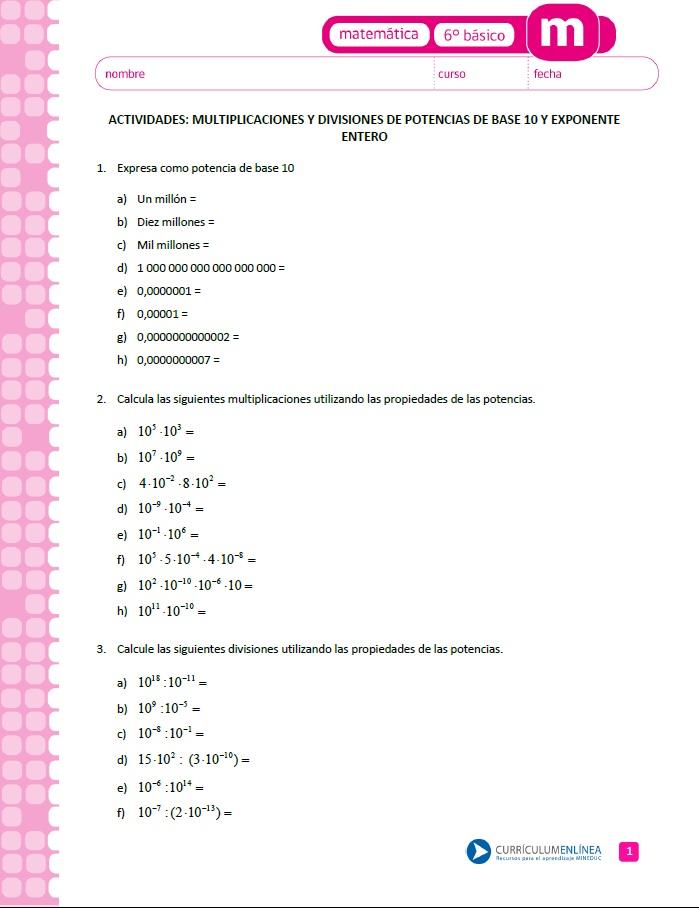 Multiplicaciones - Currículum en línea. MINEDUC. Gobierno de Chile.