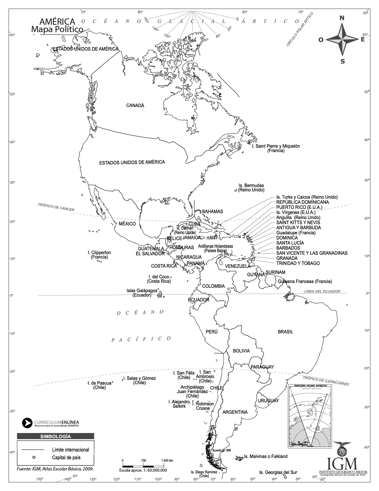 Worksheet. Mapa poltico de Amrica  Currculum en lnea MINEDUC Gobierno