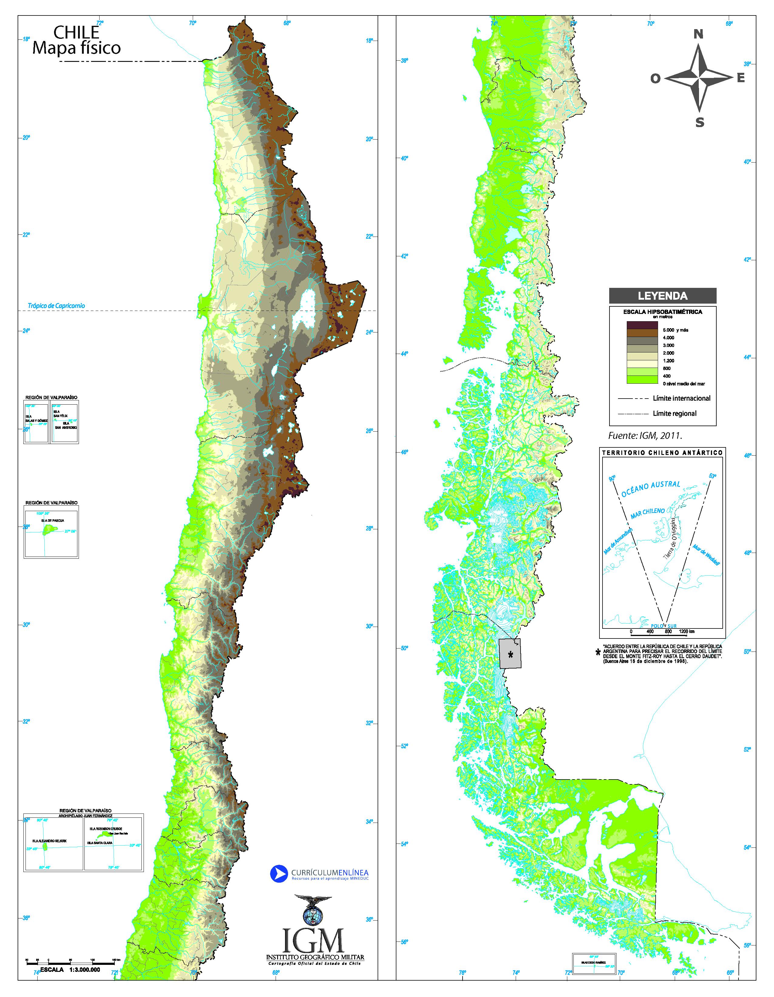 Mapa fsico de Chile  Currculum en lnea MINEDUC Gobierno de