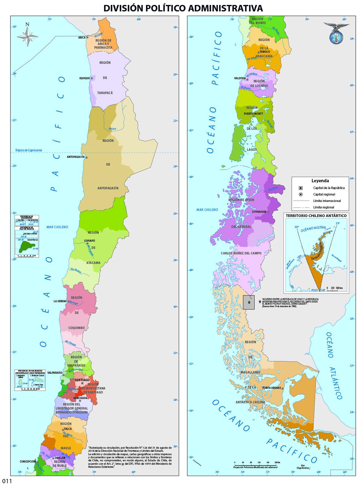 Mapa con la división política de Chile a color - Currículum en ... MAPA DE CHILE