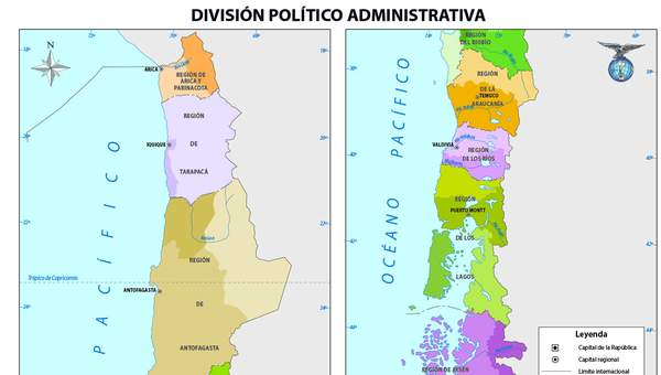 Mapa Con La Division Politica De Chile A Color Curriculum