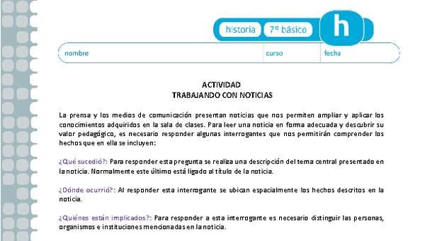 Trabajando Con Noticias Curriculum Nacional Mineduc Chile