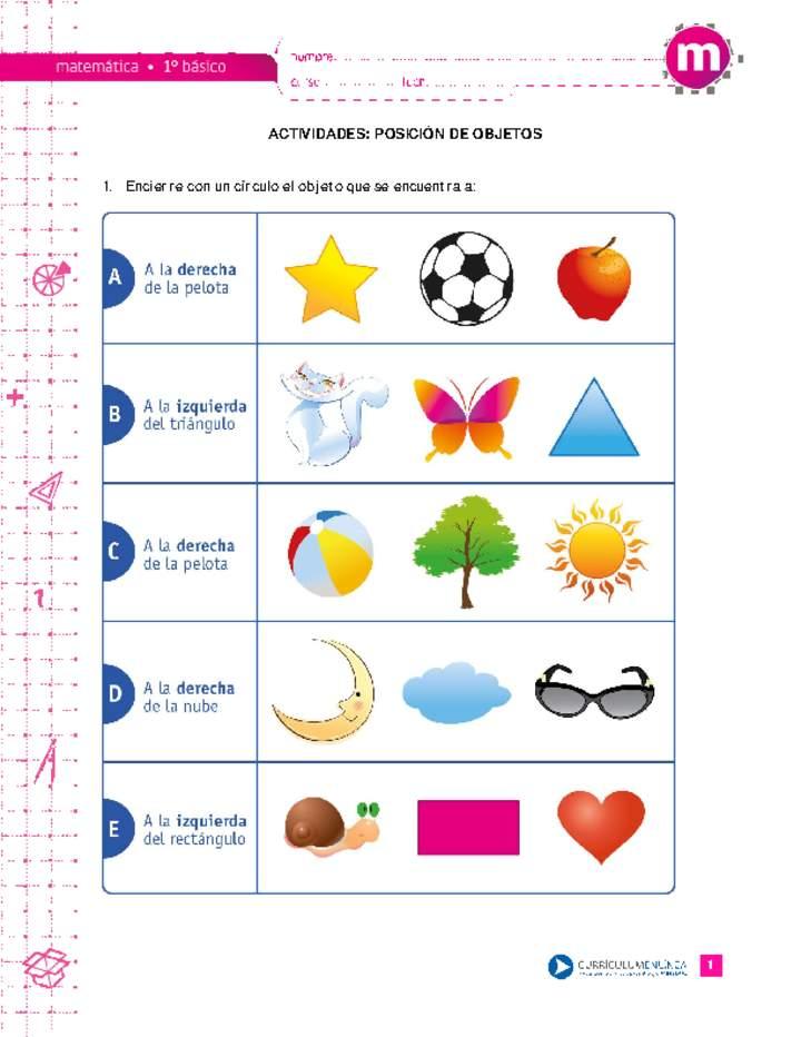 Posición De Objetos Curriculum Nacional Mineduc Chile