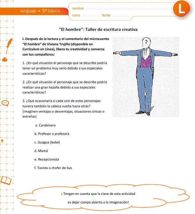 escritura creativa - Currículum en línea. MINEDUC. Gobierno de Chile.