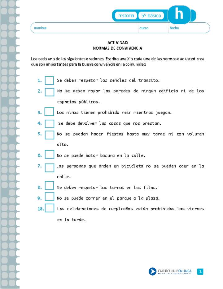 Normas De Convivencia Curriculum Nacional Mineduc Chile