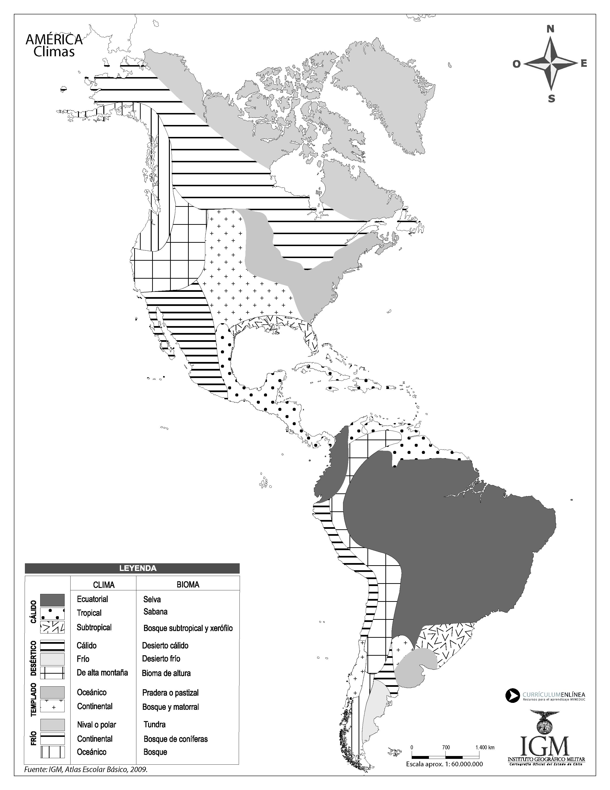 Mapa Climatico De America En Blanco Y Negro