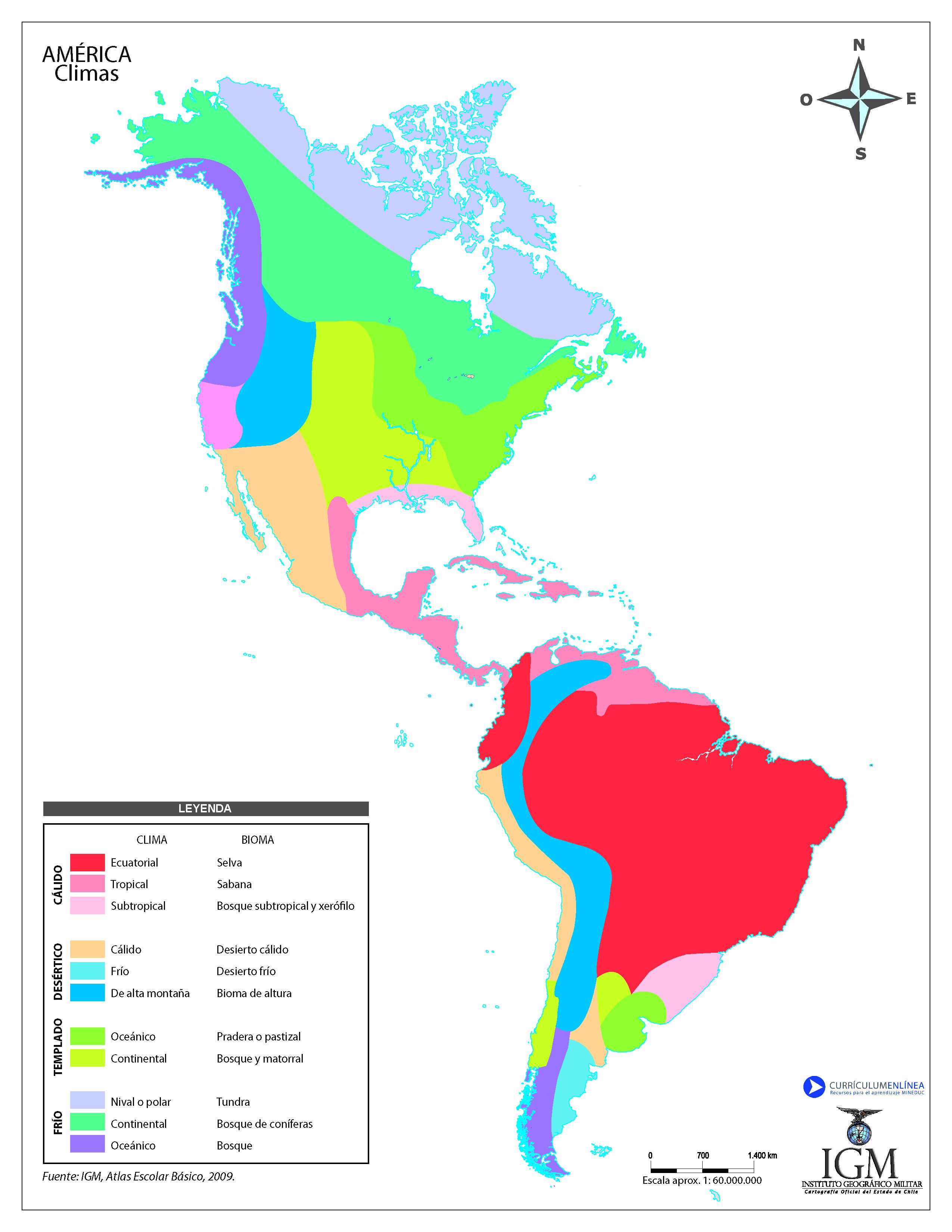 Mapa De America Mudo A Color.Climas De America A Color Curriculum Nacional Mineduc Chile