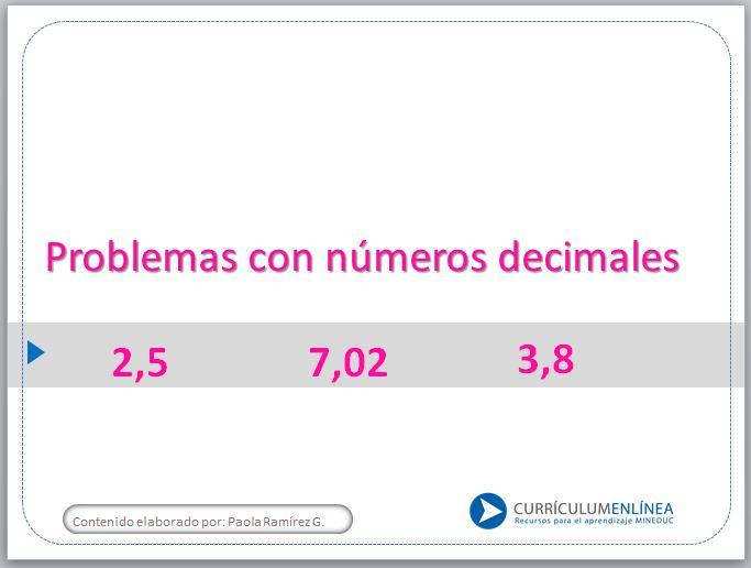 números decimales - Currículum en línea. MINEDUC. Gobierno de Chile.