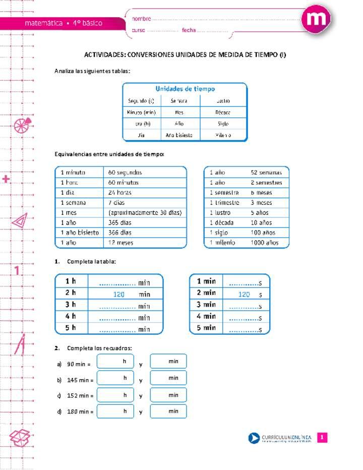 af2603442fb Conversiones unidades de medida de tiempo (I) - Curriculum Nacional ...