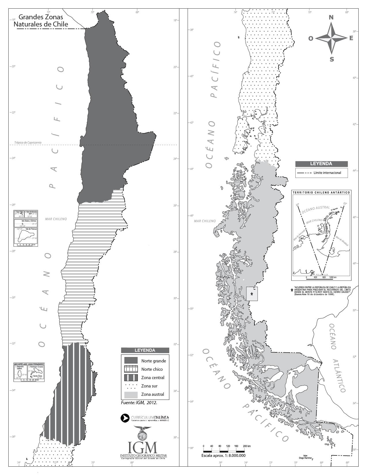 Mapa zonas naturales de Chile sin división regional - Currículum en ...