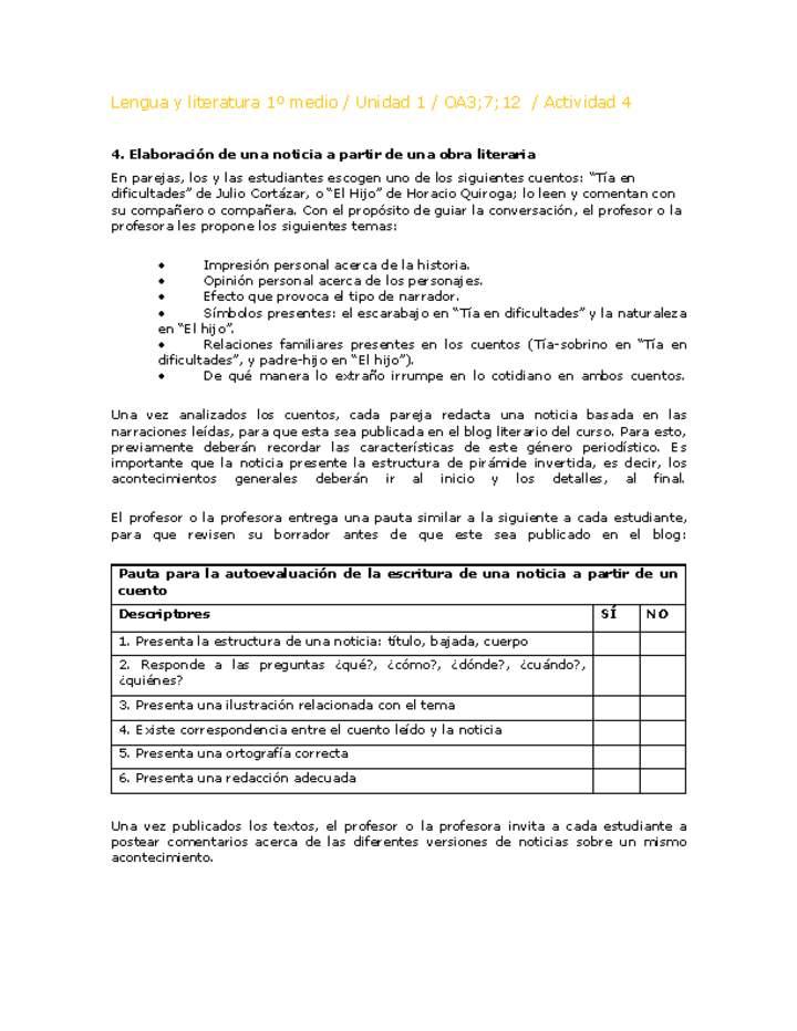 651f1c9bff76 Lengua y Literatura 1 medio-Unidad 1-OA3;7;12-Actividad 4 ...
