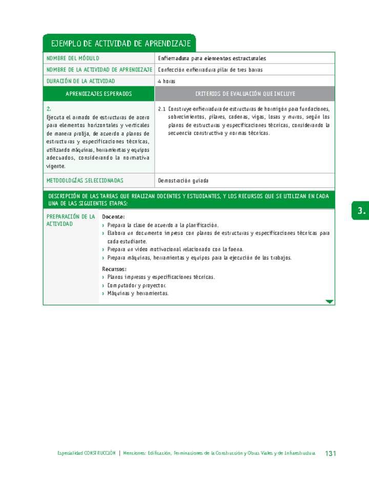 Confección Enfierradura Pilar De Tres Barras Curriculum